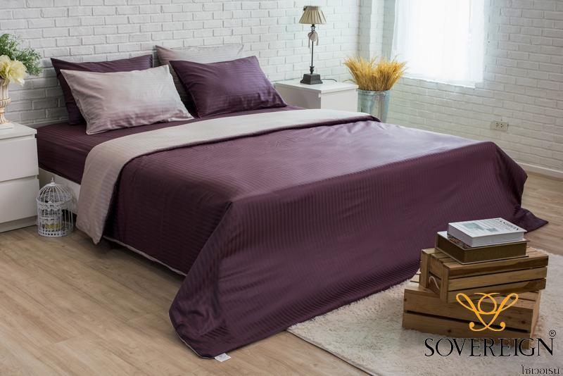 ชุดเครื่องนอน ผ้าปูที่นอน 6 ชิ้น ลายริ้ว สีม่วง